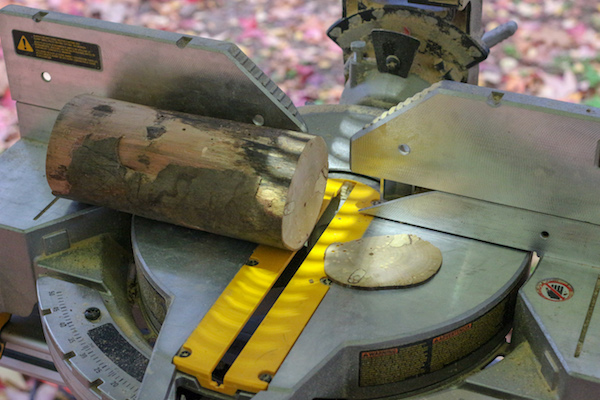 Cutting coaster with power miter saw.