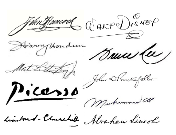 Signatures of some famous men.
