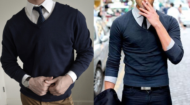 Men wearing sweater that's too big on left, too small on right.