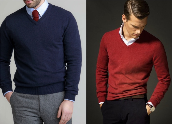 A men wearing 100% woolen blue sweater on left and red on right.