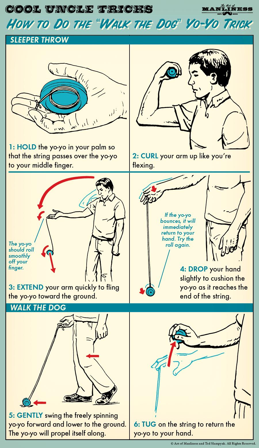 Comic guide to walk the dog with a Yo-Yo.