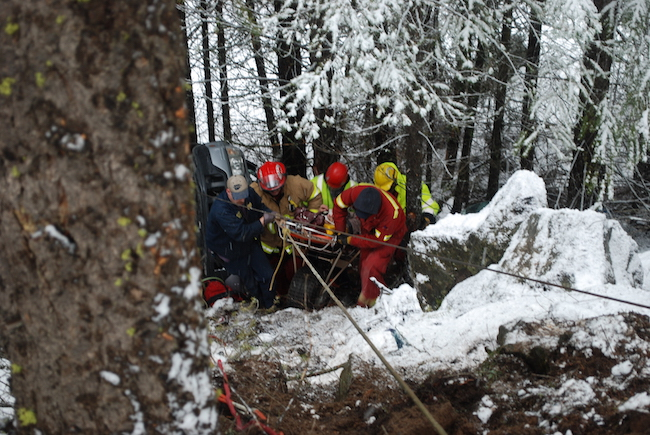 Rescue team searching with volunteers.
