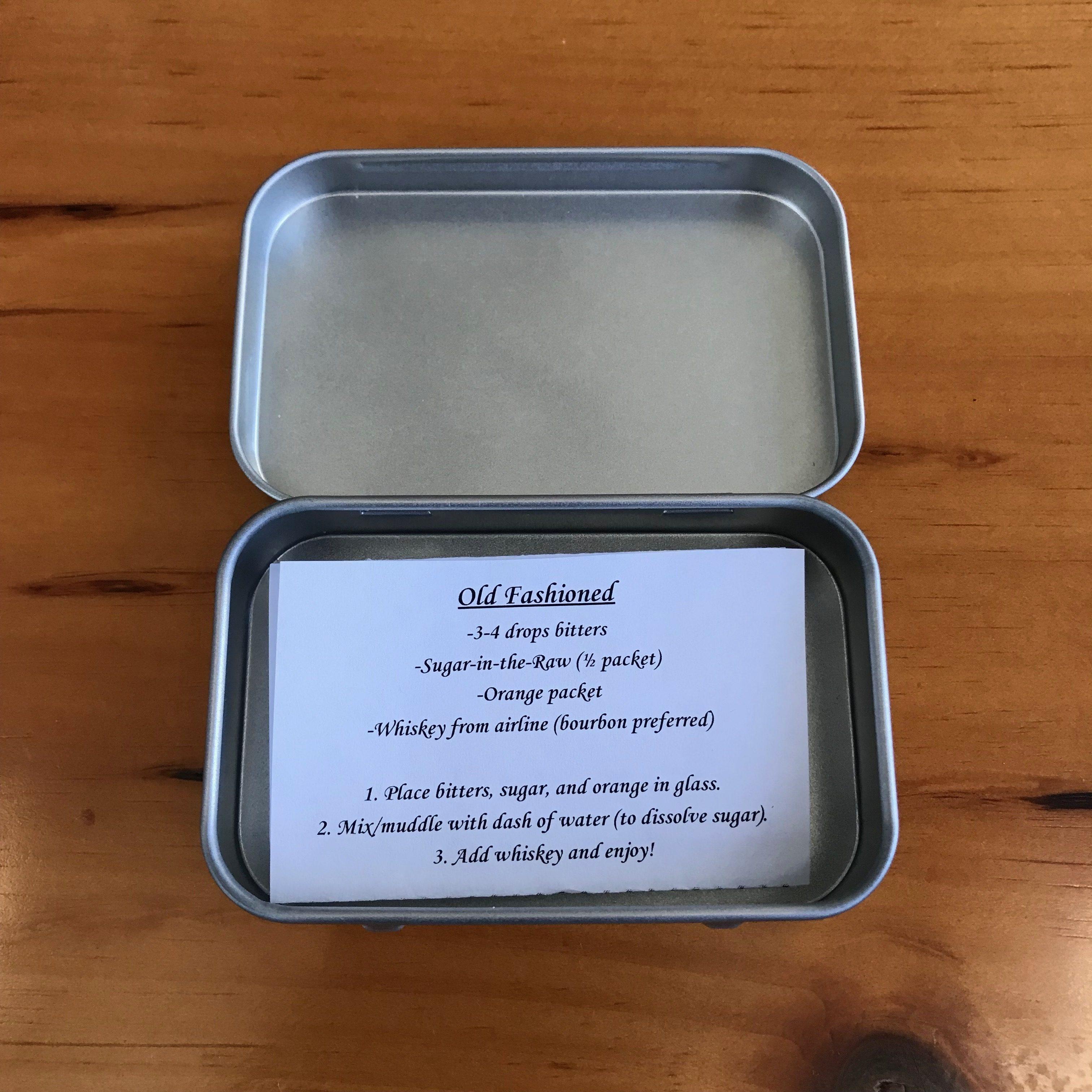 The recipe card in a tin.