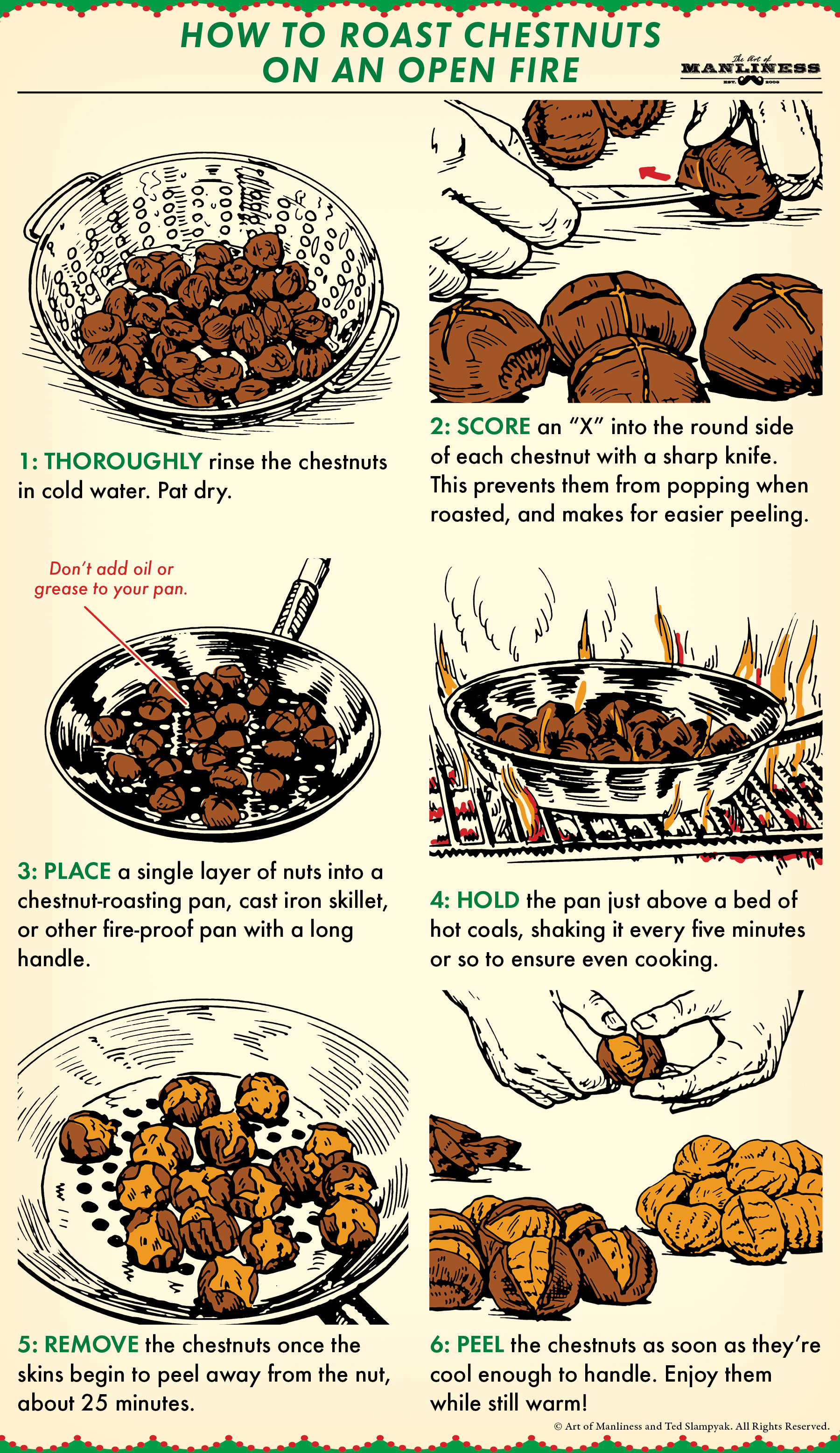 Illustration guide of how to roast chestnuts on a fire.