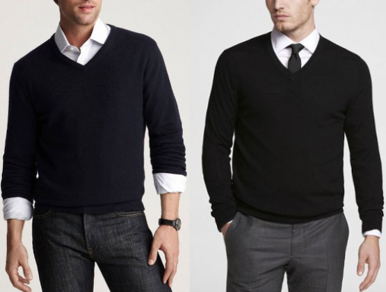 56a63349eb7 The Dos and Don ts of Wearing a V-Neck Sweater