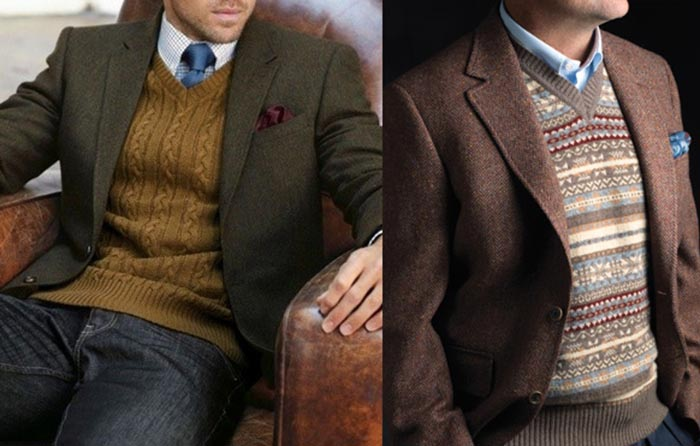 Men wearing v-neck sweater with different patterns.