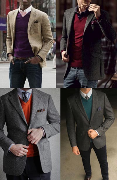 77baf621126f Traditional colors like navy, gray, and burgundy work well for V-neck  sweaters, but bolder colors like purple, turquoise, and mustard suit the V- neck well ...