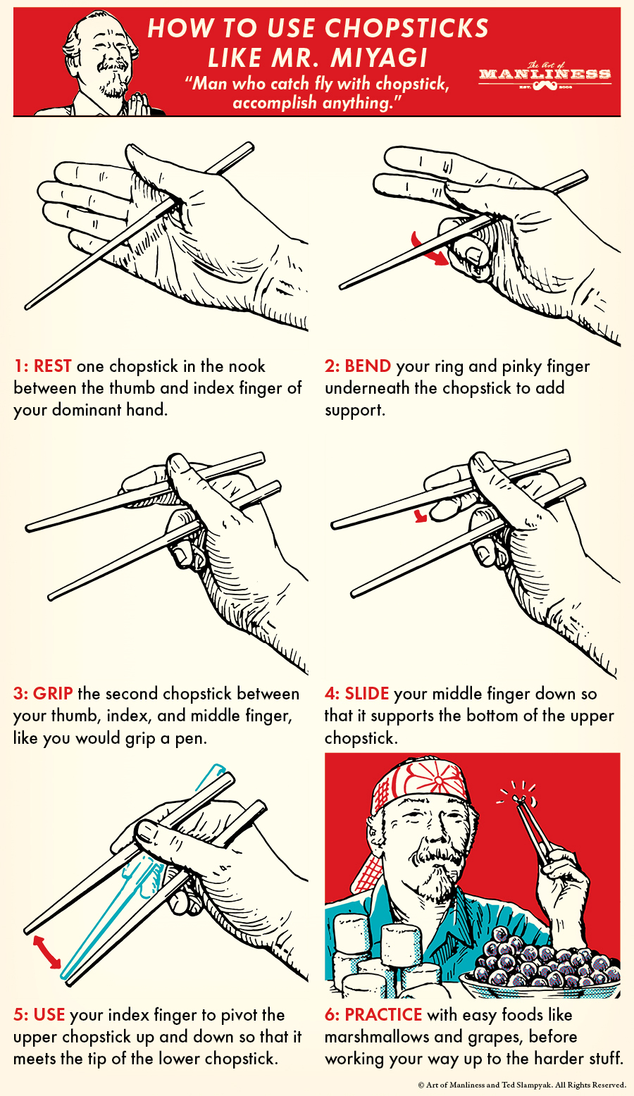 Comic guide how to use chopsticks