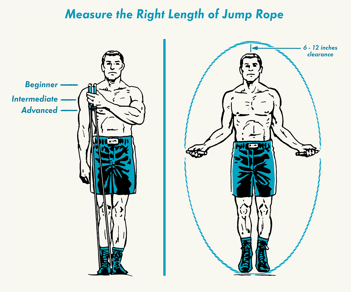 Man measuring the jumping rope.
