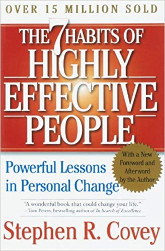 The Seven Habits Of Highly Effective people by Stephen R.Covey book cover.