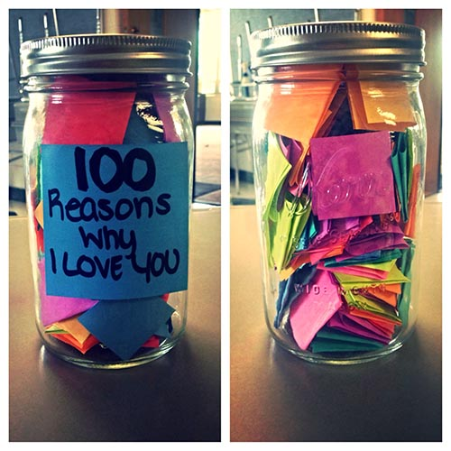 Colorful cards in a jar.