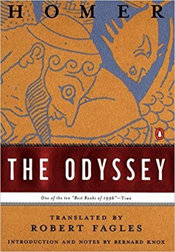The book cover of Odyssey by Homer.