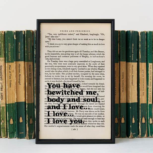 Framed book page.