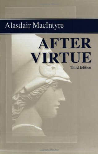After Virtue by Alasdair MacIntyre book cover.