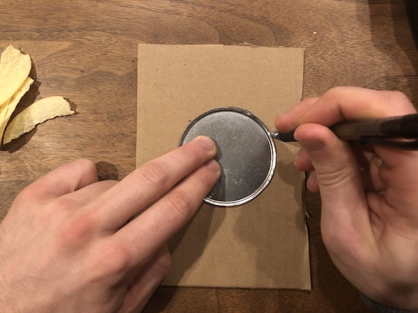 Tracing on Pringles bottom on a card.