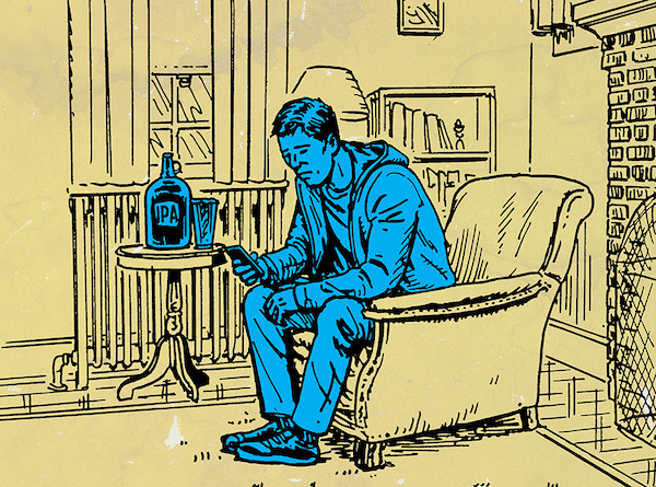 Illustration of a blue man using phone and Drink on a stool.