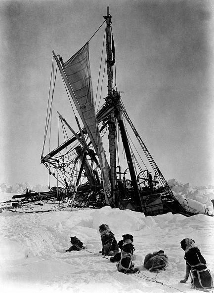 A ship in a frozen sea.