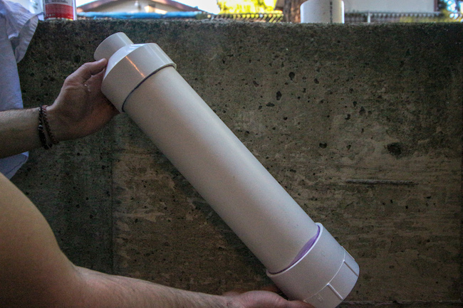 PVC pipe after applying glue at both ends.