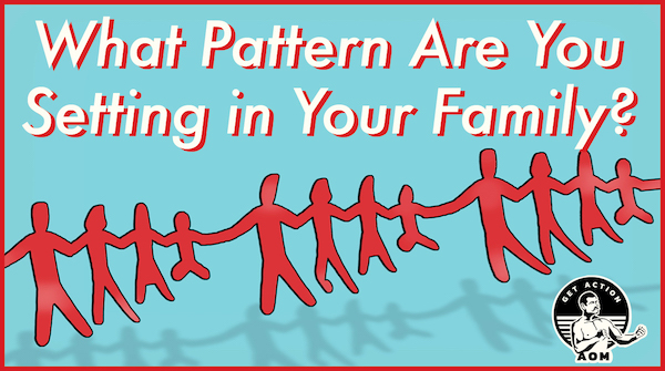 Poster by Arts of Manliness about pattern setting in family.