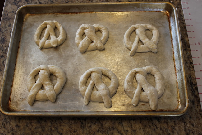 Classic pretzel shaped dough ready to bake.