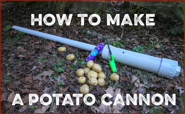 Potato canon on the ground with lighter.
