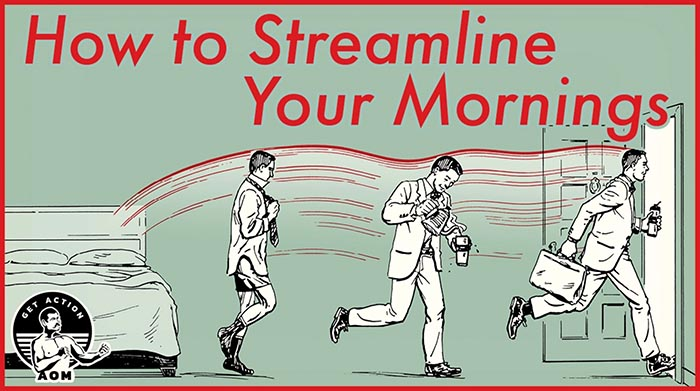 Poster by Art of Manliness about Streamline the Mornings.