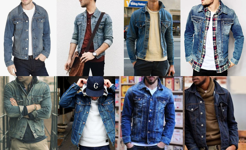 Denim jackets with different dressings displayed.