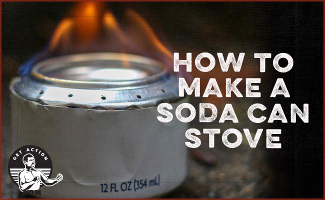 Soda can stove displayed.