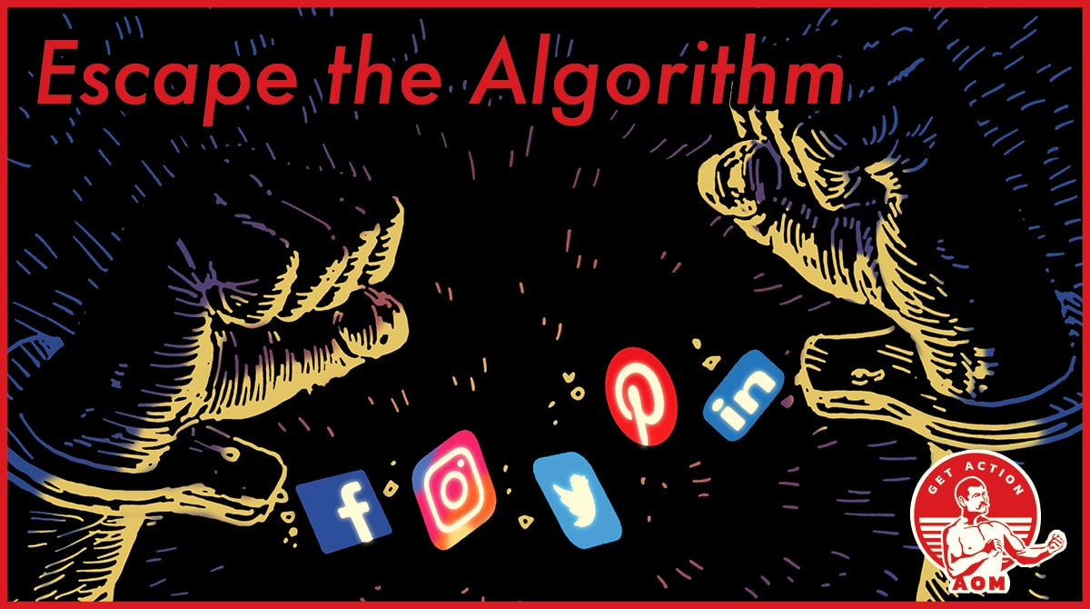 """Poster showing different logos and saying """"Escape the Algorithm"""" by AOM."""