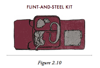 Illustration of a flint and steel kit.