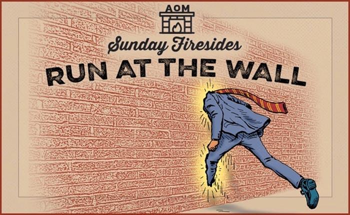 Illustration of man runnig at a wall.