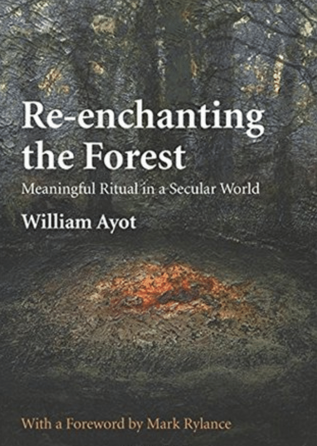 """Book cover page of """"Re-enchanting the forest"""" by William Ayot."""