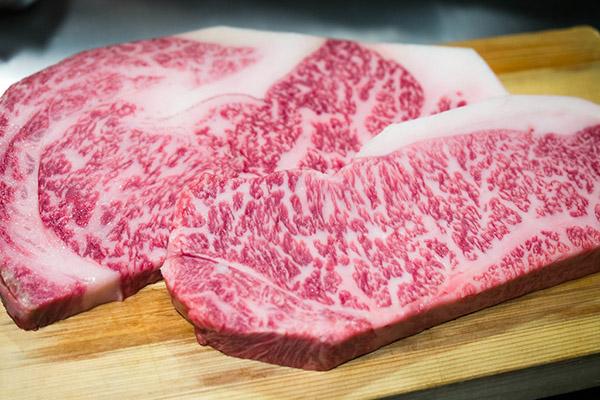 Beef japanese steaks displayed.