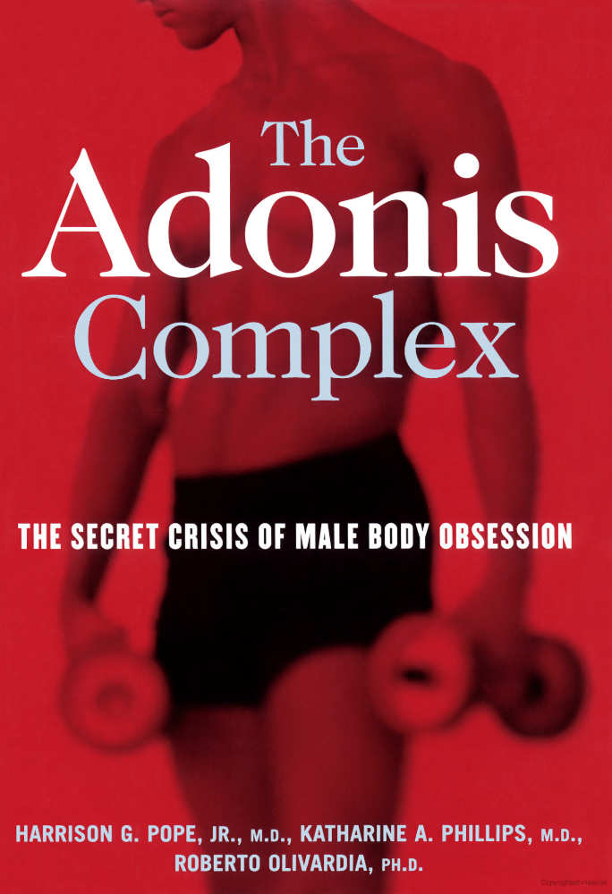A man holding dumbbells in Adonis Complex book cover.