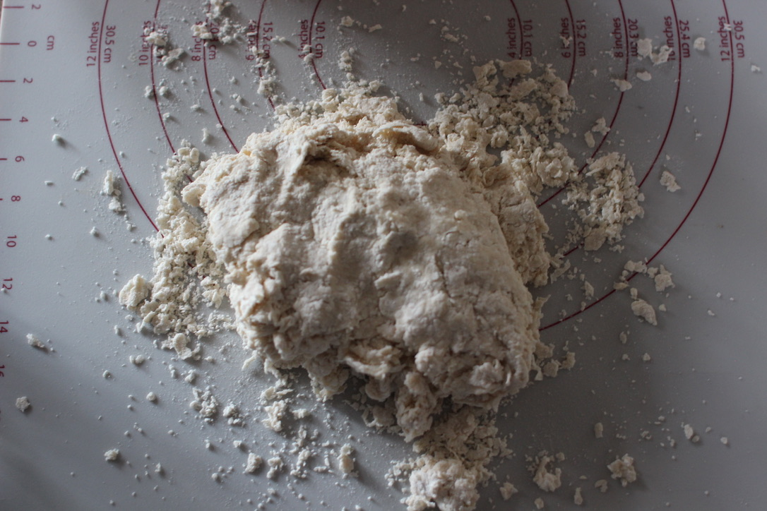 Dough on baking mat.