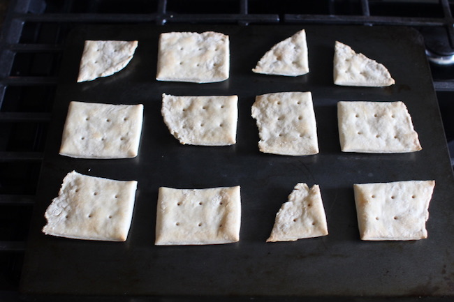 Crackers in the oven.