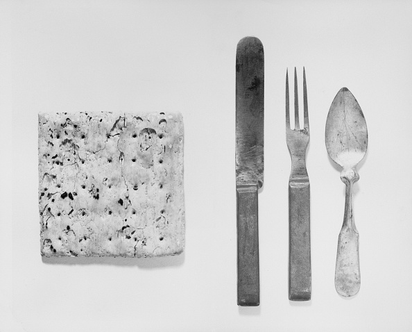 Hardtack and silverware from the civil war.