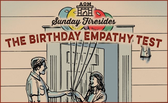 The Birthday Empathy Test, by Sunday Firesides and guy giving balloons to girl.