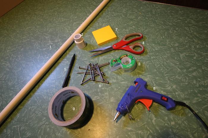 Supplies to make PCV blowgun.