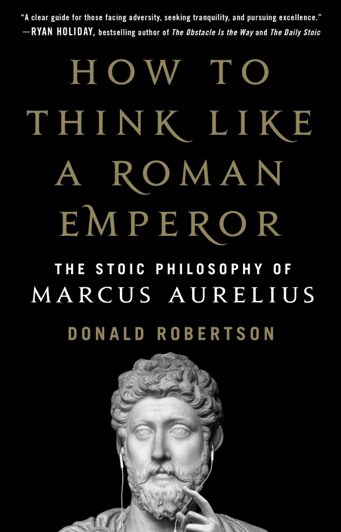 """How to Think like a Roman Emperor"" book cover by Donald Robertson."