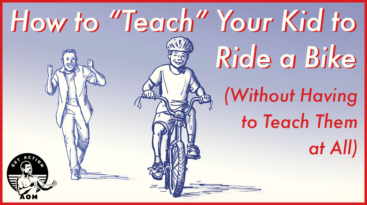 Father teaching a kid to ride a bike.
