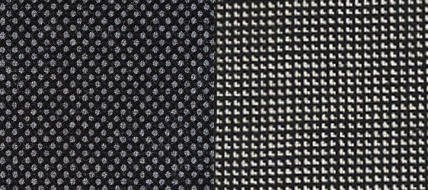 Bird's eye pattern on the left, nailhead pattern on the right.