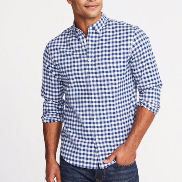 Man wearing Gingham shirt.