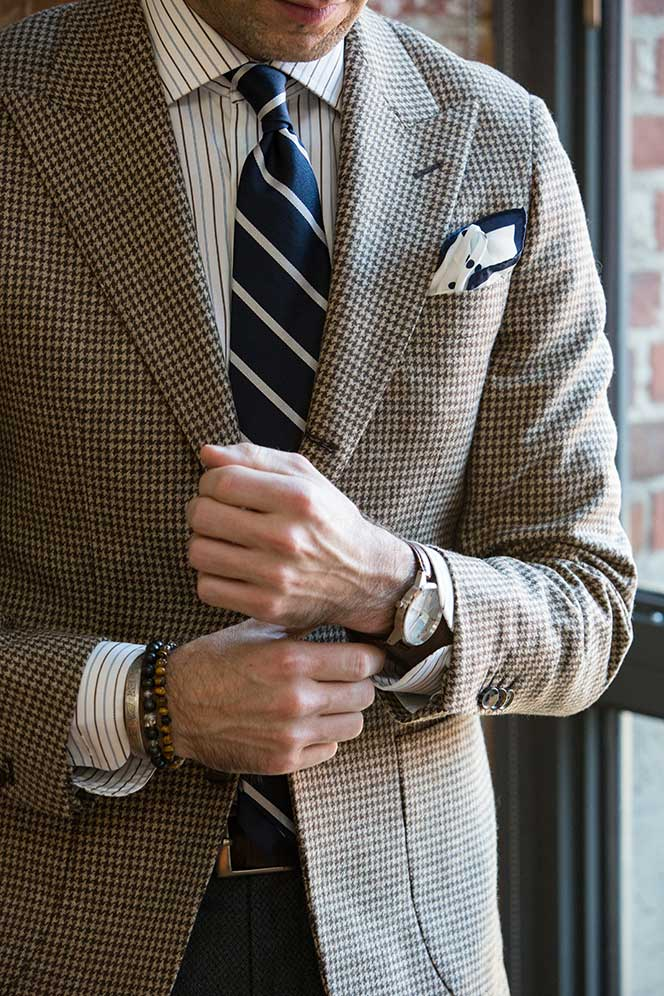 Brown-toned houndstooth blazer from He Spoke Style.