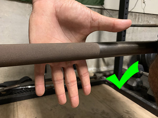 Correct way to grip barbell.