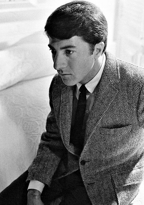 Man wearing Dustin Hoffman herringbone jacket in The Graduate movie.