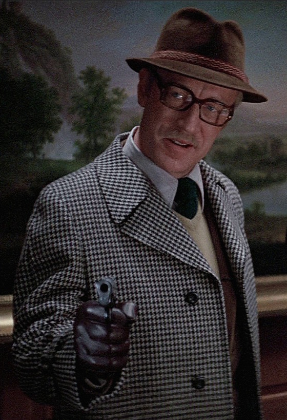 Black and white houndstooth overcoat from Three Days of the Condor.