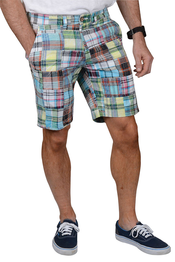 A man wearing Madras patch short.