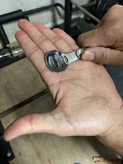 Use of Callus razor on hands.
