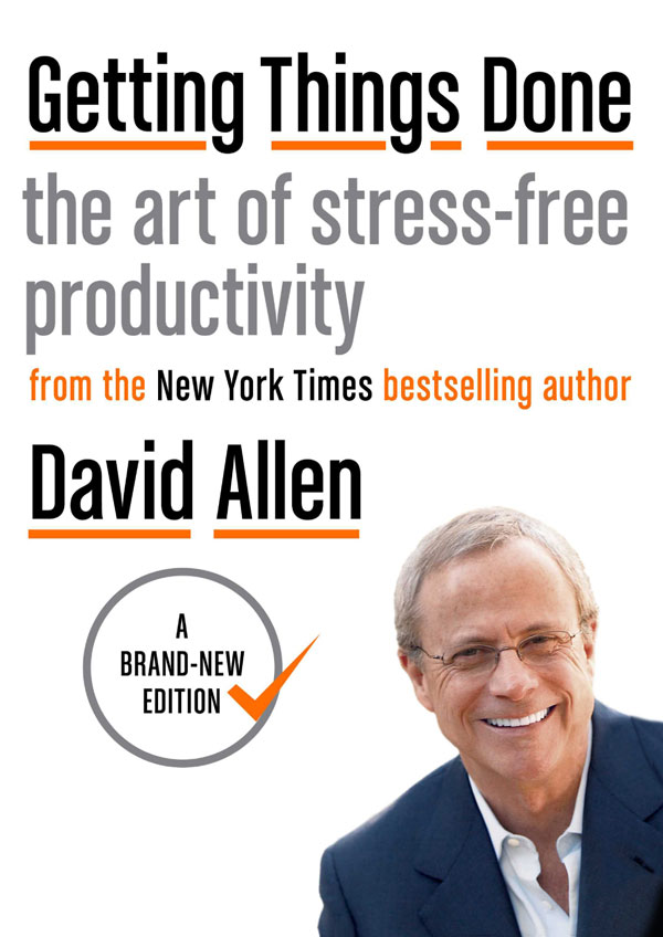 """""""Getting things done"""" book cover David Allen."""